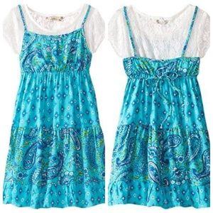 Speechless Girls Aqua Lace Short Sleeve Boho Dress